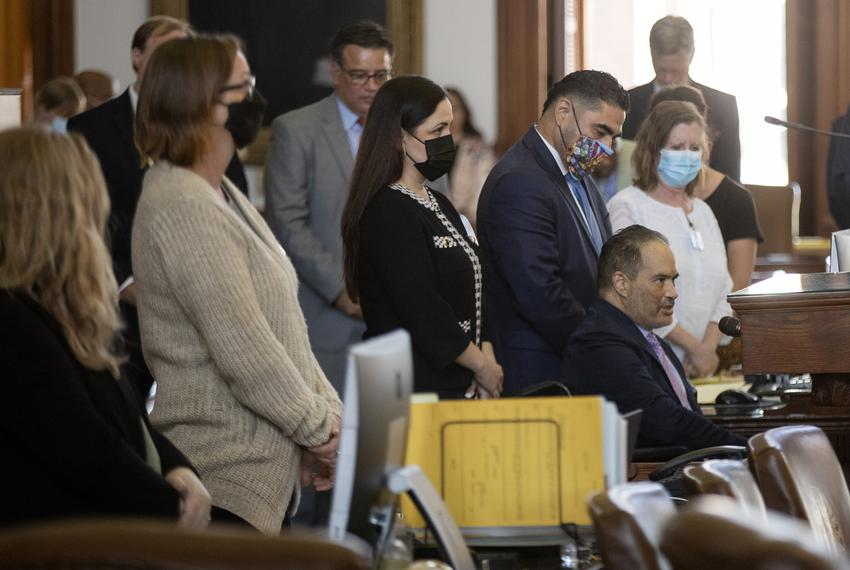 State Rep. Garnet Coleman, D-Houston, leads a prayer on the House floor on Aug. 19, 2021. Democratic lawmakers Garnet Colema…