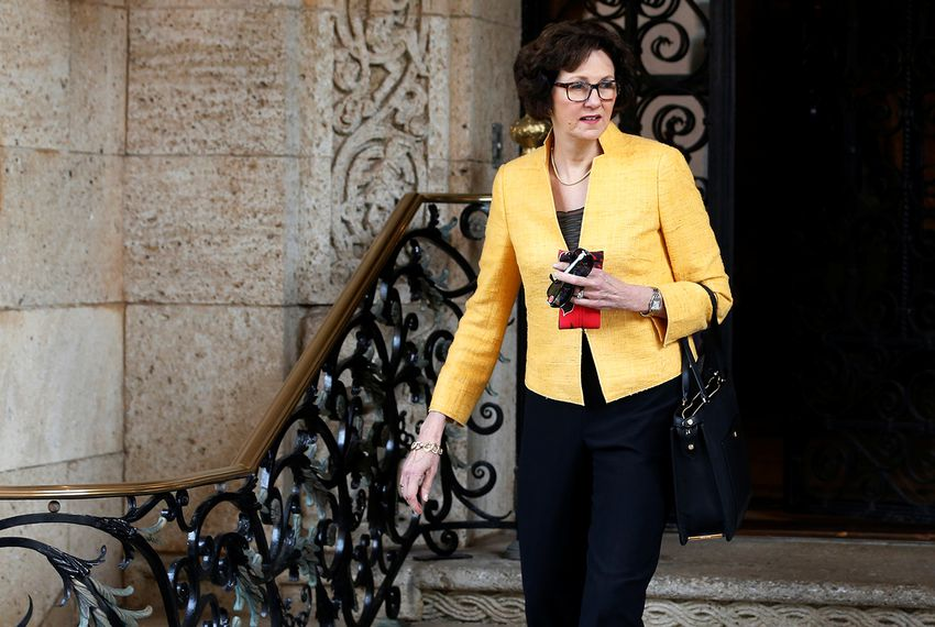 Former Texas State Comptroller Susan Combs departs after meeting with U.S. President-elect Donald Trump at the Mar-a-lago Club in Palm Beach, Florida, on Dec. 30, 2016.