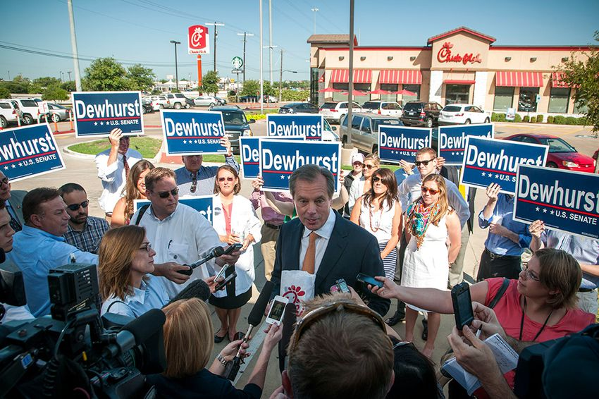 US Senate Candidate David Dewhurst outside Chick-Fil-A in Austin, TX on July 30, 2012