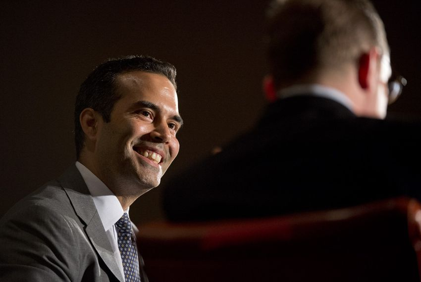 Candidate George P. Bush at TribFest with Evan Smith at Friday's keynote on Sept. 19, 2014.