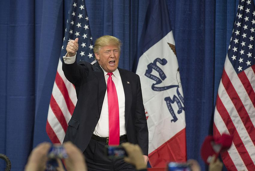 Republican frontrunner Donald Trump in Council Bluffs, Iowa on Jan. 31, 2016.