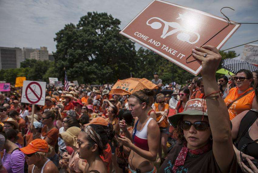 An abortion rights rally at the Texas Capitol on July 1, 2013.