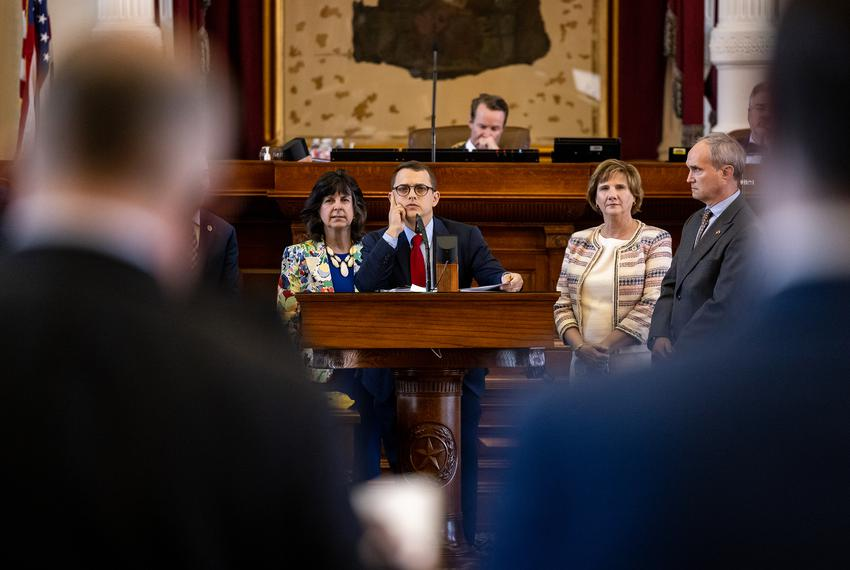State Rep. Briscoe Cain, R-Deer Park, flanked by his Republican colleagues, answers questions regarding SB 7, a voting right…