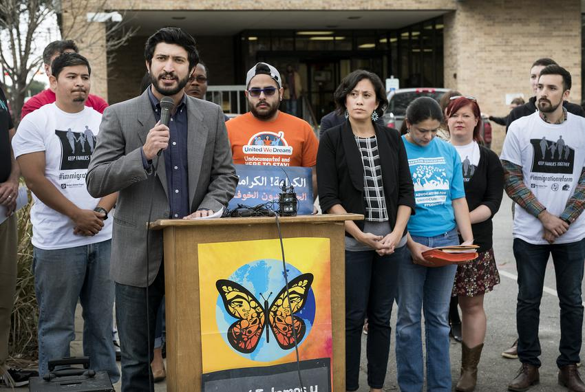 Austin City Council member Greg Casar comments on recent Immigration and Customs Enforcement actions in Austin outside the...