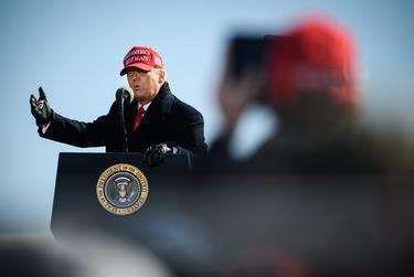 President Donald Trump speaks at a campaign rally at the Fayetteville Regional Airport in North Carolina on Nov. 2, 2020.