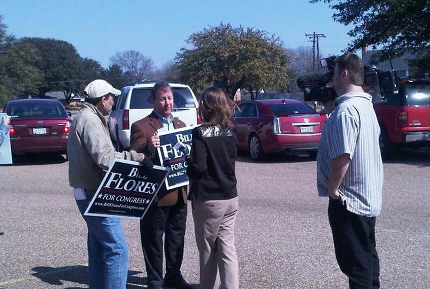 Bill Flores working the polls on March 2, 2010