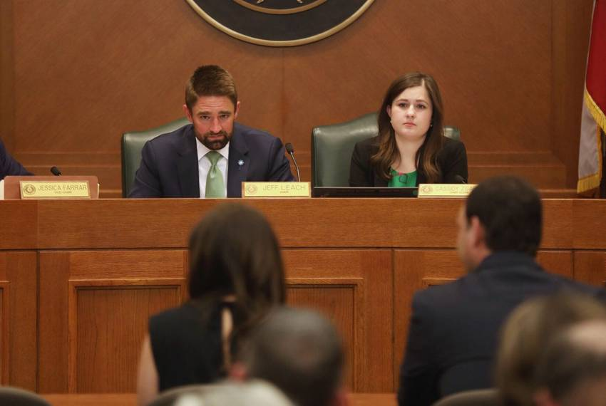 State Rep. Jeff Leach, R-Plano, listens as his wife Becky testifies before the Judiciary and Civil Jurisprudence Committee...
