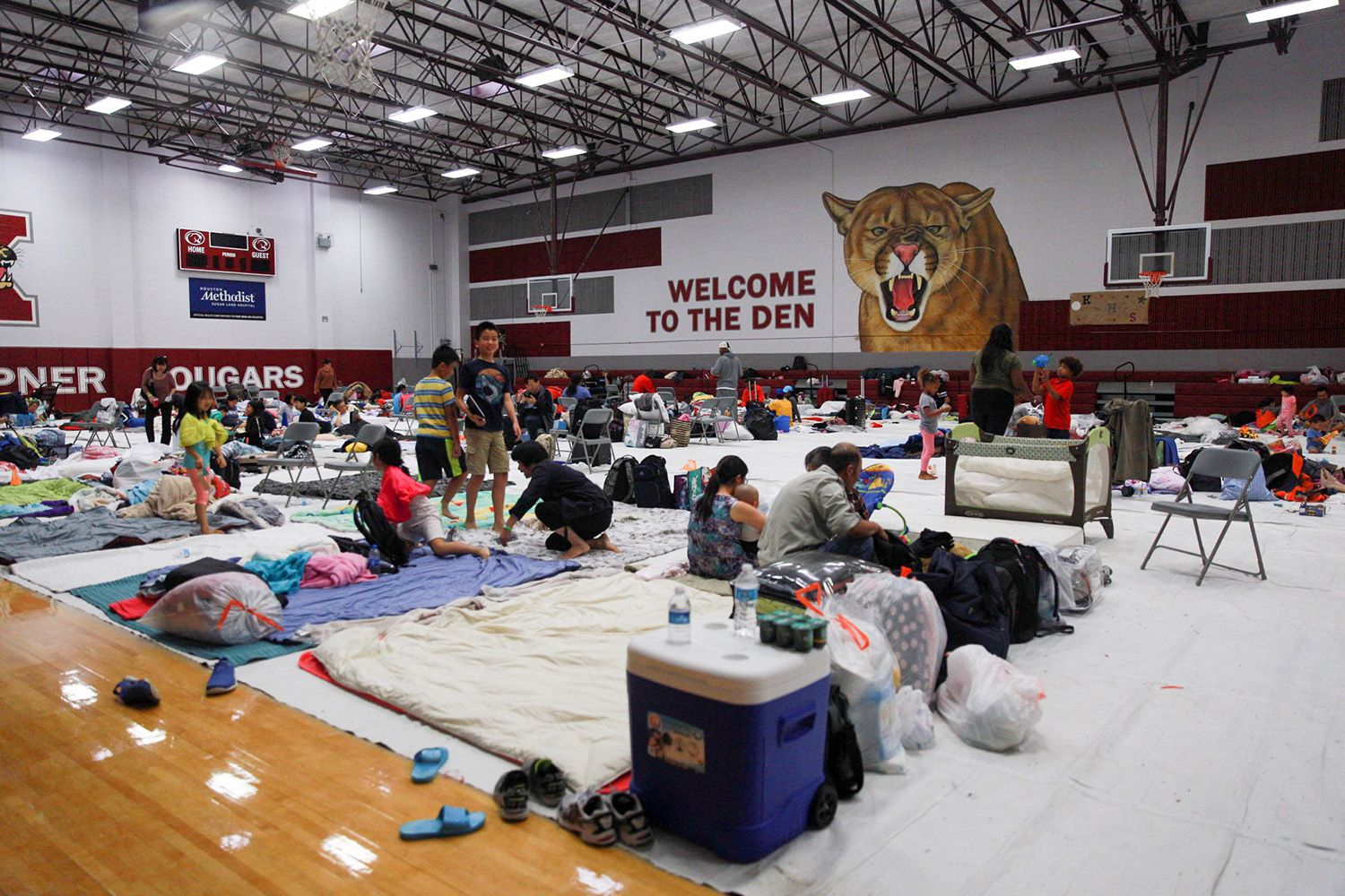 The gym at Kempner High School in Sugarland, in Fort Bend Co. southwest of Houston, was converted to a shelter during Hurricane Harvey.