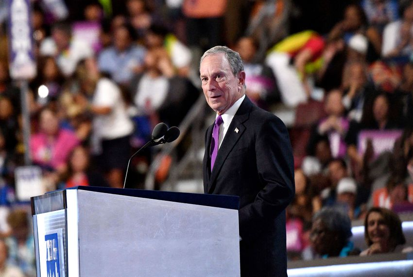 Former New York mayor Michael Bloomberg speaks during the 2016 Democratic National Convention at Wells Fargo Center on July 27, 2016.