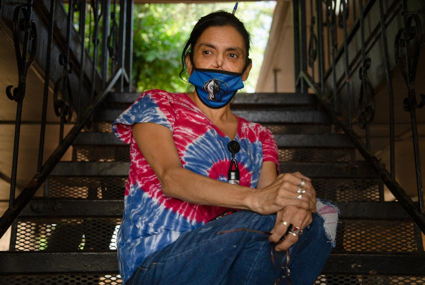 Marcela Ramos sits for a portrait outside her home in West-Central Dallas, on May 13, 2021.