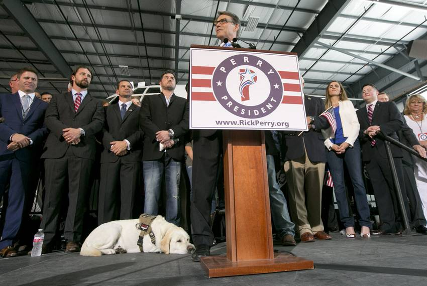 """""""Lone Survivor"""" Marcus Luttrell's service dog Rigby takes a breather during Perry's speech."""