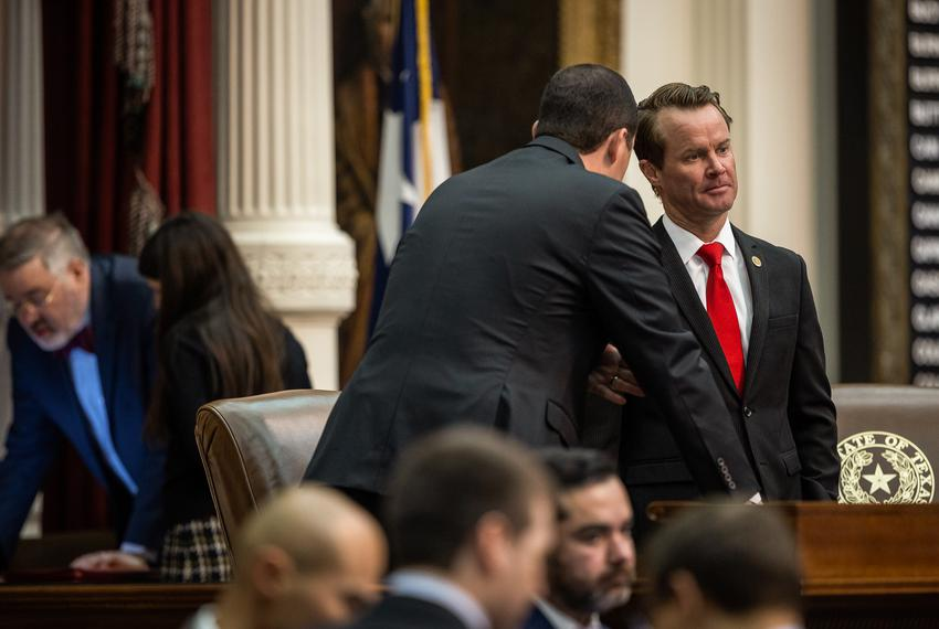 Texas House Speaker Dade Phelan listens to a colleague while presiding over the chamber on Oct. 18, 2021, shortly before the…