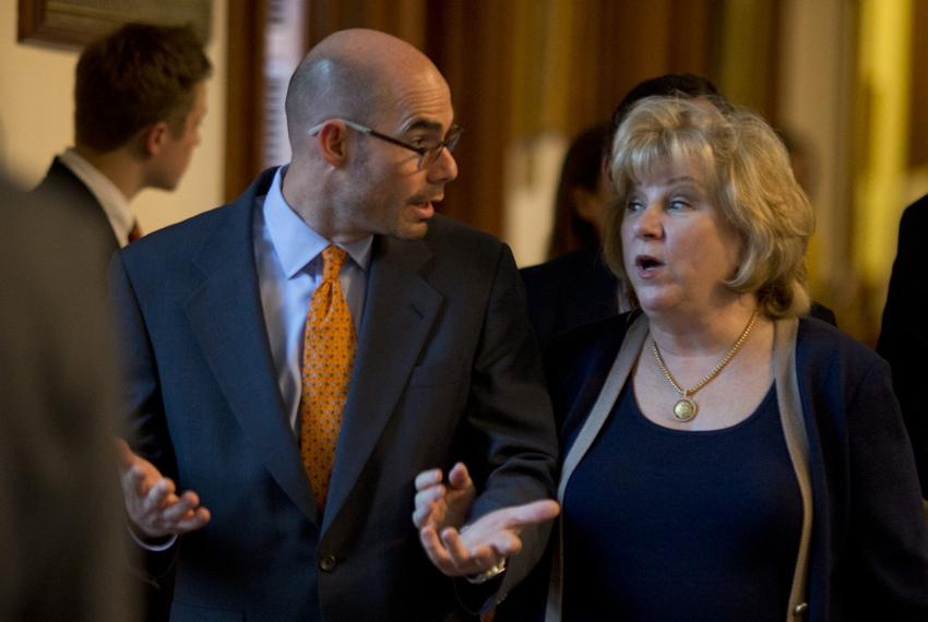 State Rep. Dennis Bonnen, R-Angleton, escorts Senate Finance Chair Jane Nelson, R-Flower Mound through the House Chamber o...