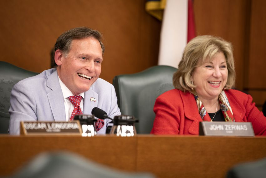 State Rep. John Zerwas, R-Richmond, and State Sen. Jane Nelson, R-Flower Mound, during a budget conference at the Capitol in May.