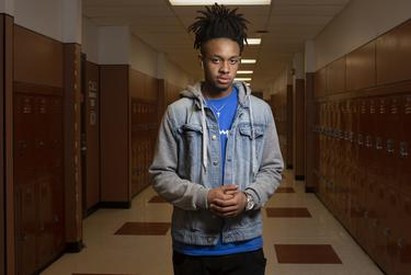 Ahmir Johnson, a Round Rock High School senior, at school on April 26, 2019. The expansion of the marshal program could be triggering for black and brown students.