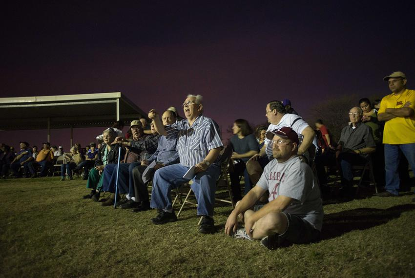 Roy Thornhill Sr. (center) voices his concern as residents of the City of Blue Mound, Texas, gather at their community cente…