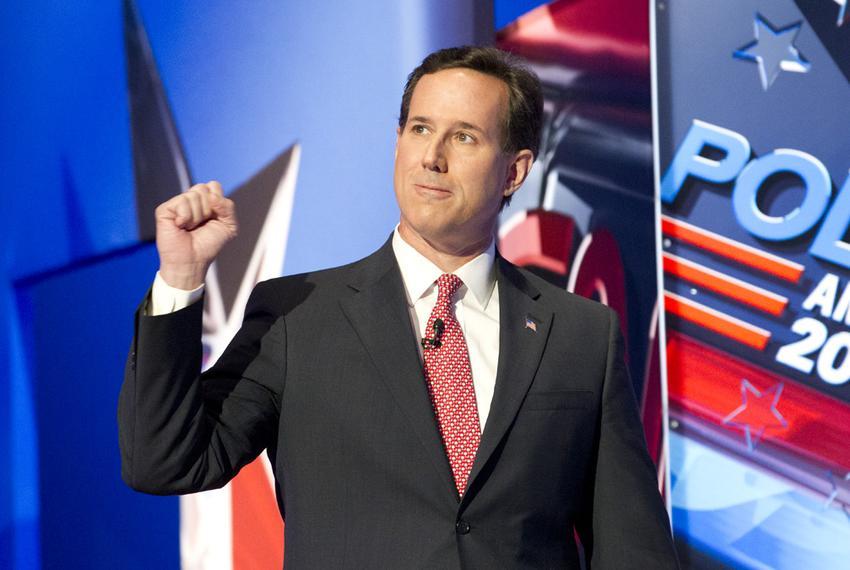 Rick Santorum walking onstage at the CNN debate in Charleston, S.C., on Jan. 19, 2012.