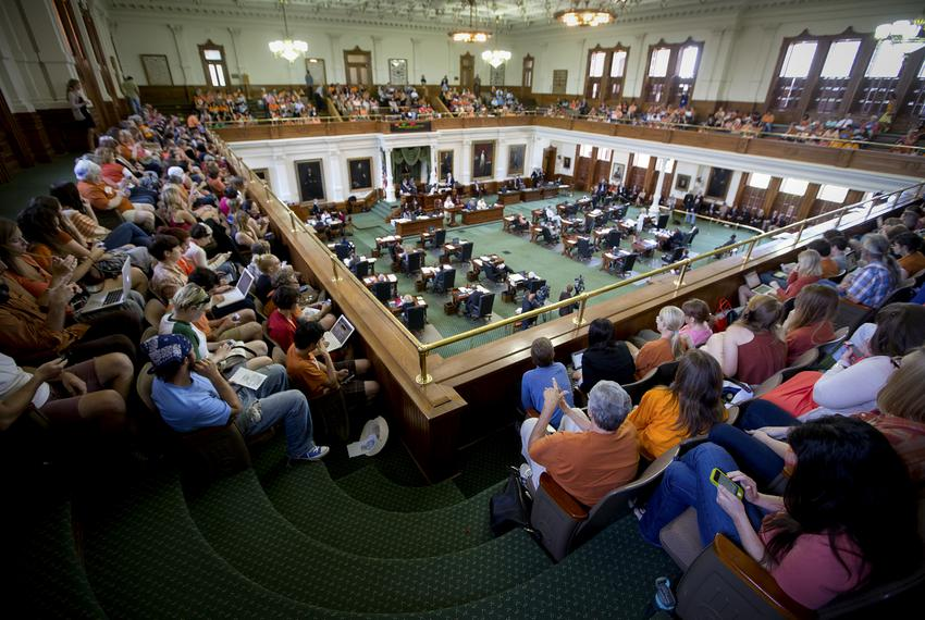 Wide view of the Senate gallery as Sen. Wendy Davis, D-Fort Worth, begins a filibuster of SB 5 a bill that would tighten reg…
