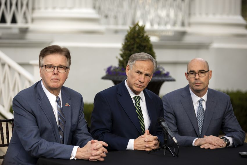 Gov. Greg Abbott, Lt. Gov. Dan Patrick and House Speaker Dennis Bonnen hold a joint press conference on the lawn of the Governor's Mansion.
