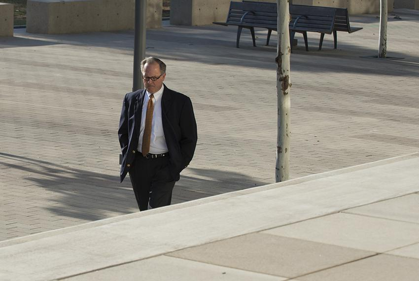 Former David Dewhurst consultant Buddy Barfield walks to Austin federal court in October, 2014, to plead guilty to embezzl...