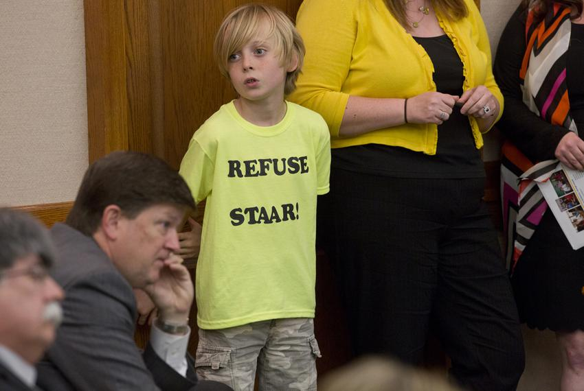"Waco ISD elementary school student, William Massey, wears a t-shirt that says ""refuse STAAR"" during a senate committee on ed…"