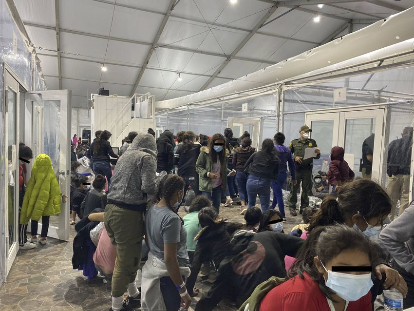Photos from the Customs and Border Patrol temporary overflow facility in Donna in March of 2021.