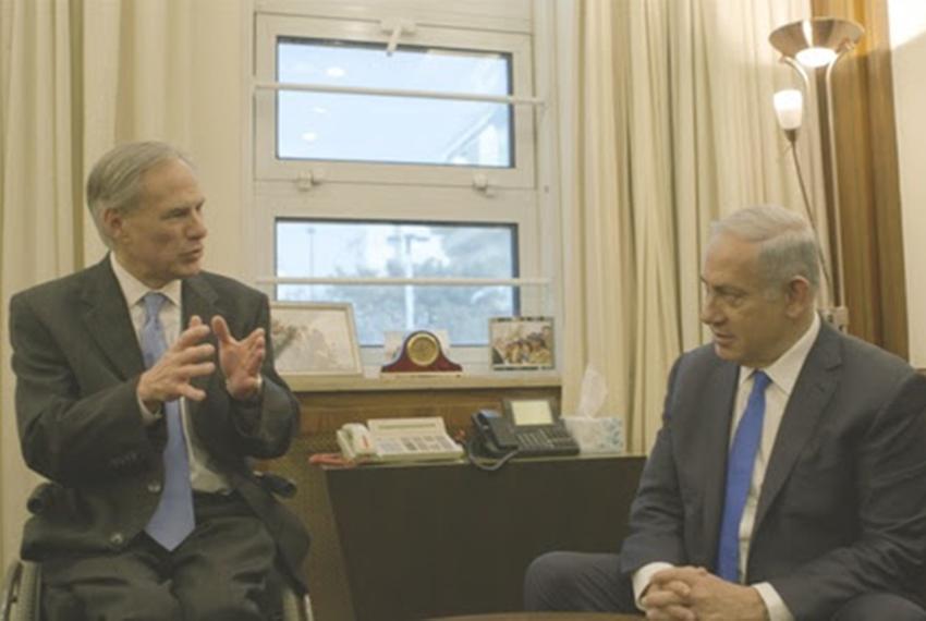 Gov. Greg Abbott meets with Israeli Prime Minister Netanyahu during a visit to Israel on Jan. 18, 2016.