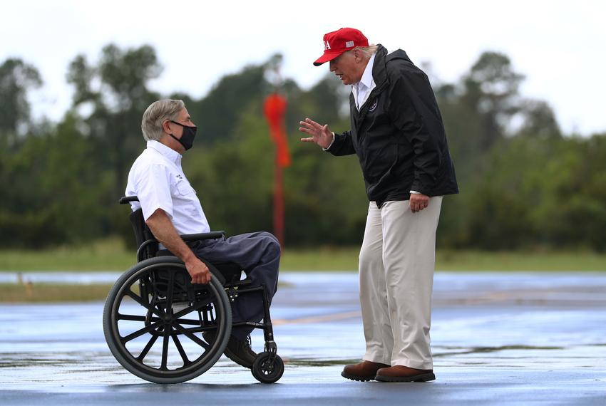 Gov. Greg Abbott greeted then-President Donald Trump upon arrival at the Orange County Airport Landing Zone to visit areas d…