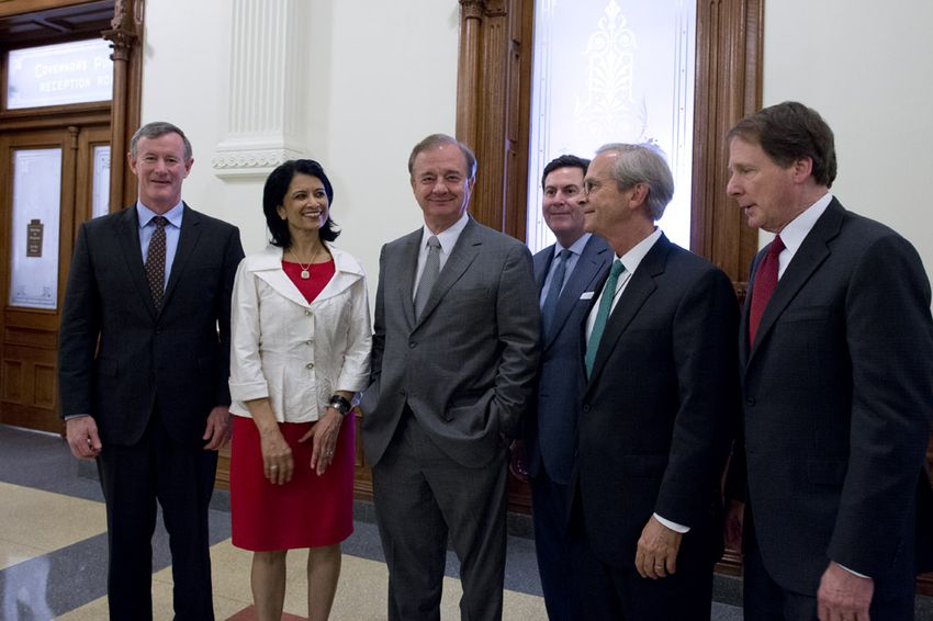 Texas' seven university system chancellors gathered outside Gov. Greg Abbott's office in 2015. From left to right,Bill McRaven of the University of Texas System, Renu Khator of the University of Houston System, John Sharp of the Texas A&M University System, Brian McCall of the Texas State University System, Lee Jackson of the University of North Texas System and Robert Duncan from the Texas Tech University System.