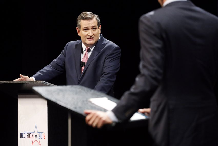 U.S. Sen. Ted Cruz, R-TX, addresses U.S. Rep. Beto O'Rourke, D-El Paso, during a debate on Sept. 21, 2018.