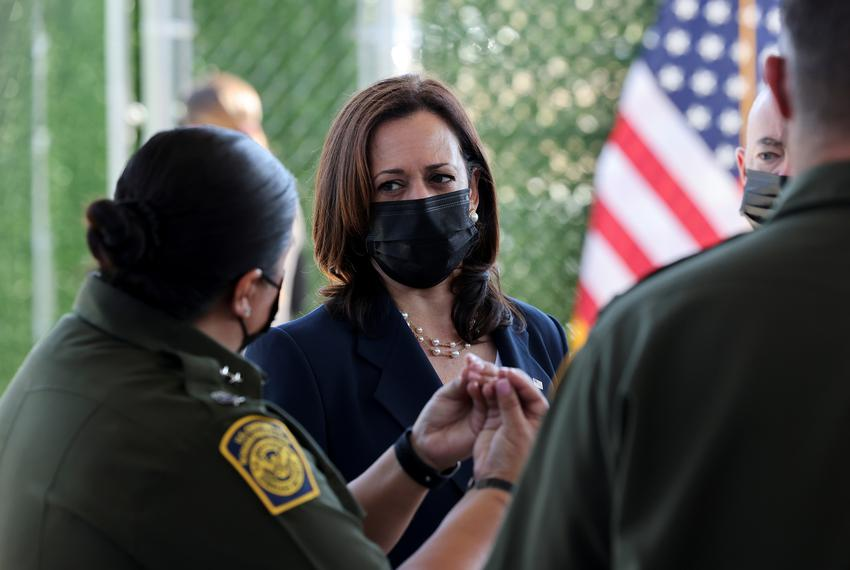 U.S. Vice President Kamala Harris spoke with members of the U.S. Border Patrol as she visited an El Paso central processing …