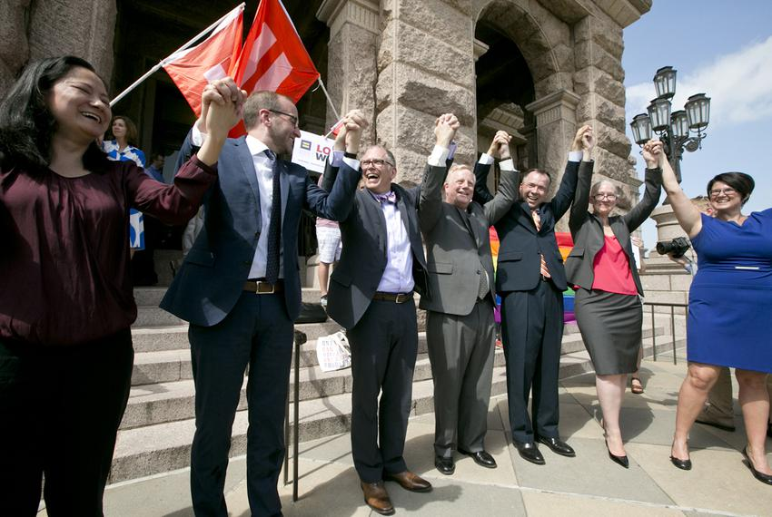 Gay rights activists held a demonstration on Monday, June 29, 2015, in front of the Texas Capitol. The event came a few da...