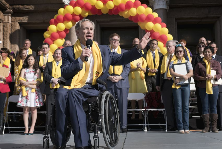 Gov. Greg Abbott spoke during a rally for school choice at the Capitol in 2017. He has rarely brought up the issue this legislative session.