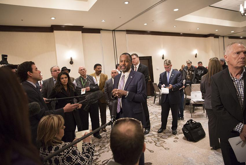 Retired neurosurgeon and presidential hopeful Ben Carson speaks to supporters in Irving, Texas on Feb. 27, 2106.
