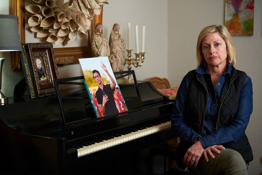Lori Brown,whose son Harrison Brown died in a May 2017 stabbing at the University of Texas at Austin, poses for a portrait at her home in Graham, Texas, on Feb. 27, 2018.