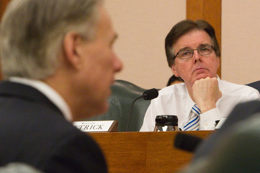 Sen. Dan Patrick R-Houston, listens to Attorney General Greg Abbott during a Senate Finance Committee hearing on Feb. 5, 2013. What will the balance of power look like between the incoming lieutenant governor and governor?