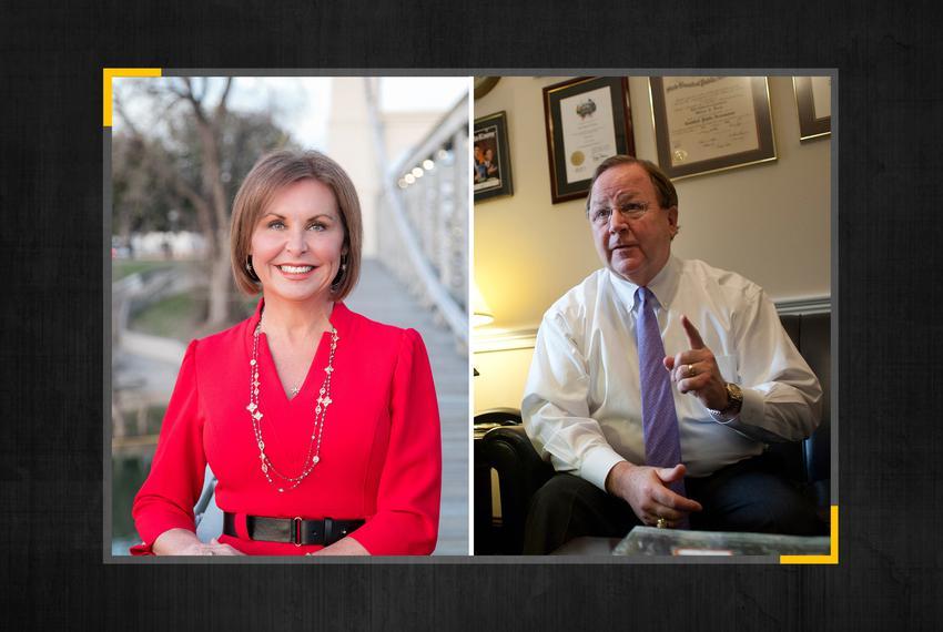 Republican candidate Renee Swann and retiring U.S. Rep. Bill Flores, R-Bryan.