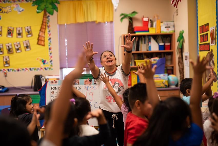 JoAnn Zavala, pre-K bilingual teacher at Hemphill Elementary, leads a short period of exercise on Sept. 5, 2019.