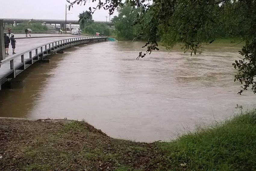Heavy rains caused widespread flooding in Houston on April 18, 2016. Here, the Buffalo Bayou is close to washing out Studemont Street near downtown Houston.