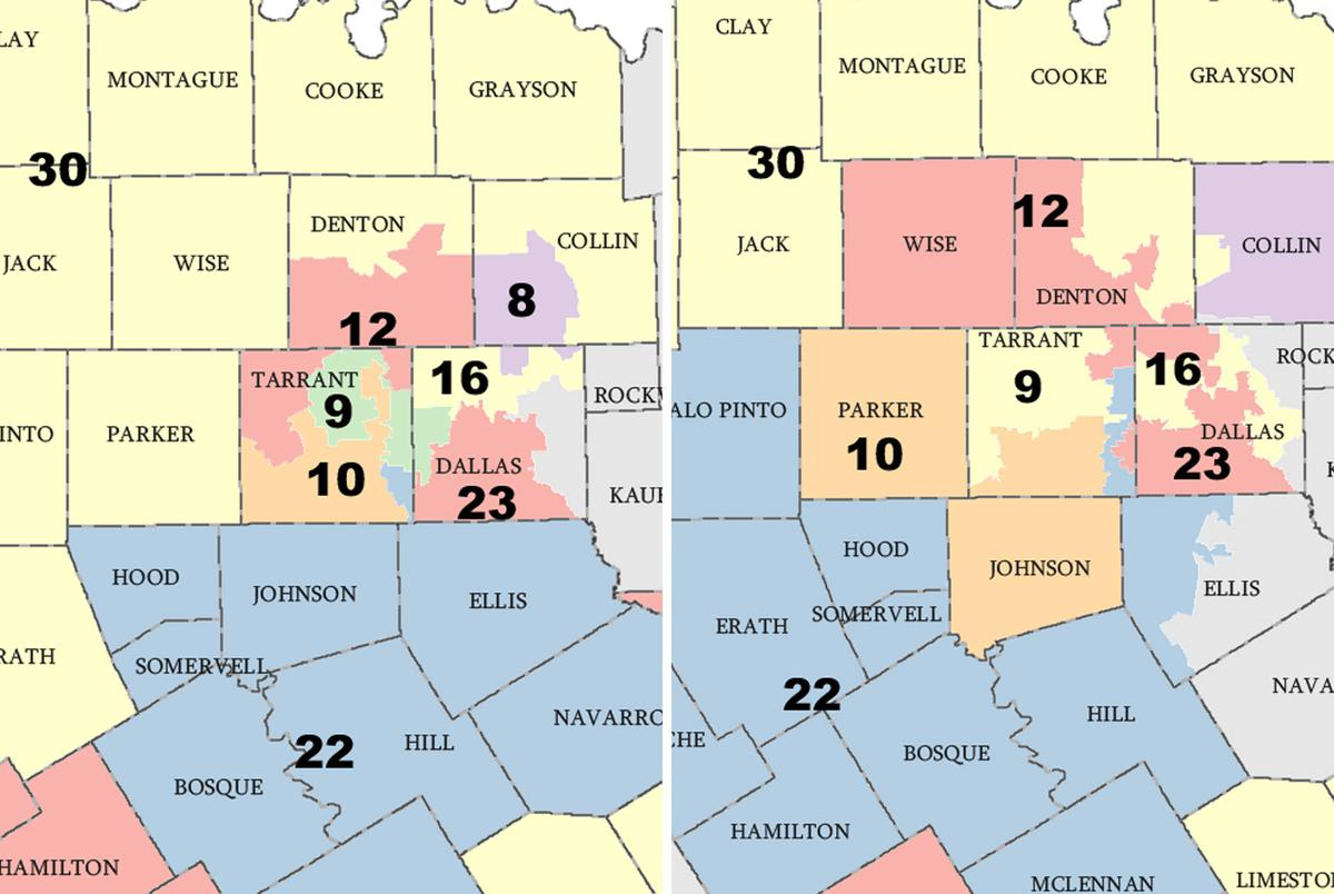 Texas' current Senate District 10, left, and District 10 in Huffman's proposal.