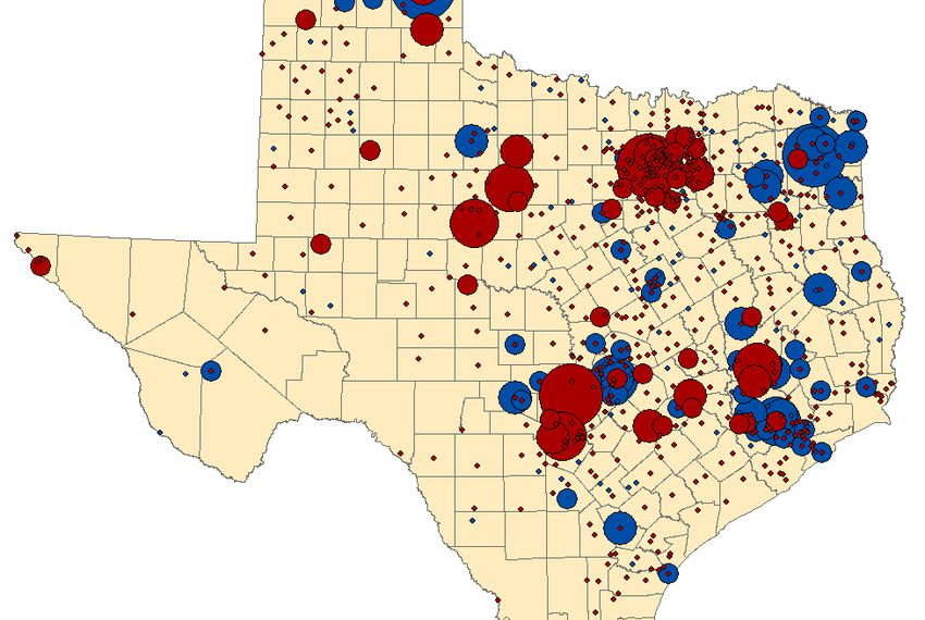 The map represents contributions to the major-party candidates in the Texas' governor's race: incumbent Gov. Rick Perry (red) and former Houston mayor Bill White (blue). The map compares contribution totals from Feb. 21 to June 30 to each candidate with each city's populations. The bubbles grow larger in cities where residents disproportionately donated based on the overall population.