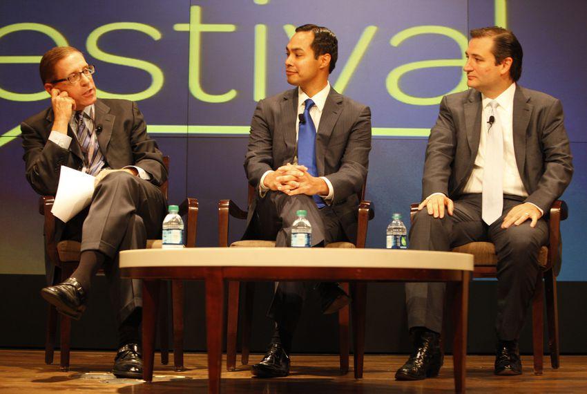 Republican senate nominee Ted Cruz and San Antonio mayor Julián Castro debate the future of Texas politics at The Texas Tribune Festival on September 22, 2012.