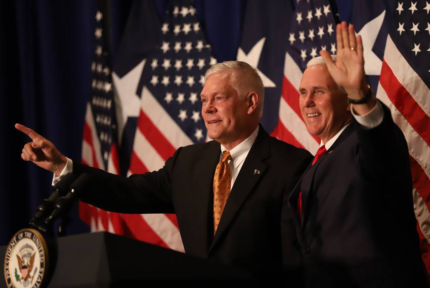 Vice President Mike Pence (right) campaigns for U.S. Rep. Pete Sessions at the Park Cities Hilton in Dallas on Oct. 8, 2018.