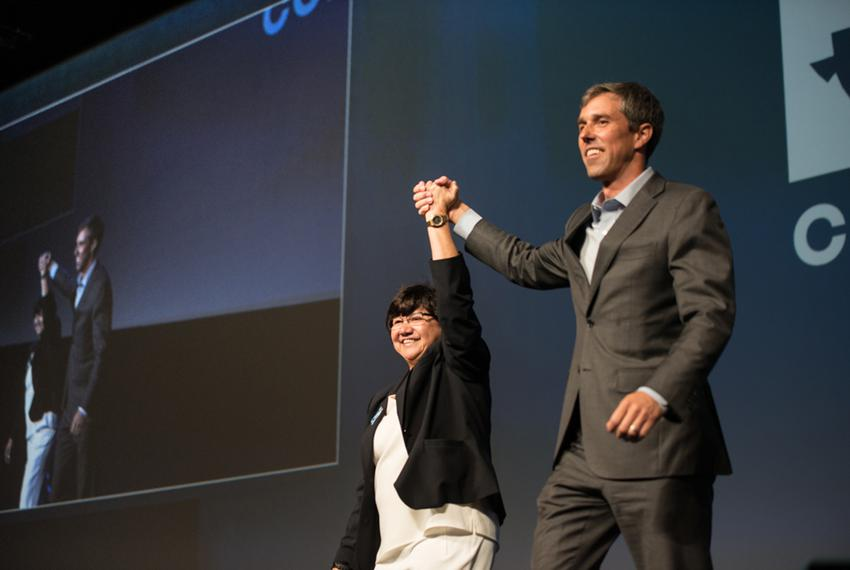 Lupe Valdez, Democratic candidate for governor, and U.S. Rep. Beto O'Rourke, D-El Paso, vying for the U.S. Senate, at the Texas Democratic Party convention in Fort Worth on June 23, 2018.