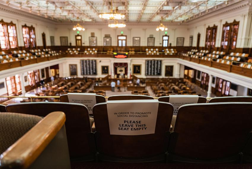 Signs adorn every seat in the House Gallery to ensure social distancing in the house chamber. Jan 4, 2021.