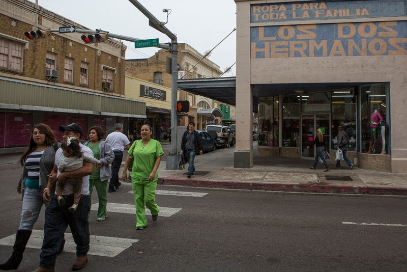 There are many busy retailers near the international bridge where pedestrians may cross in and out of the United States, in historic downtown Laredo, Tx.