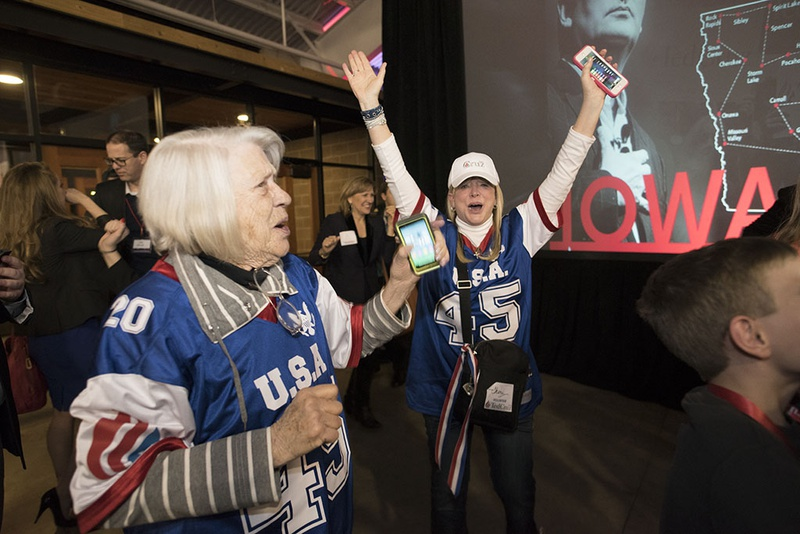 Ted Cruz supporters celebrate victory in Iowa caucuses Feb. 1, 2016.