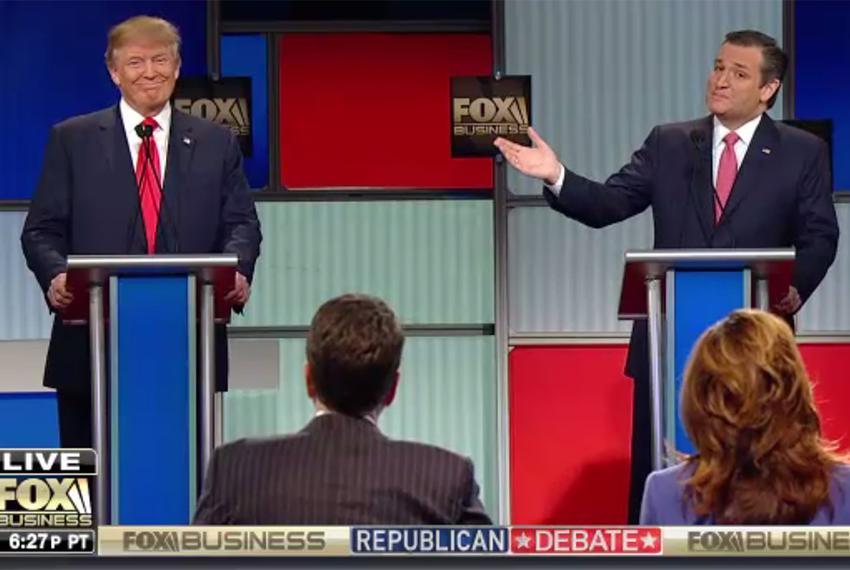 Businessman Donald Trump and U.S. Sen Ted Cruz at the Fox Business Republican presidential debate in North Charleston, Sou...