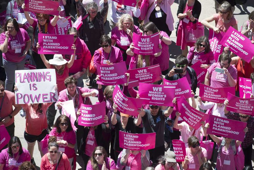 Supporters of Planned Parenthood gather at the the Capitol in Austin on April 5, 2017.