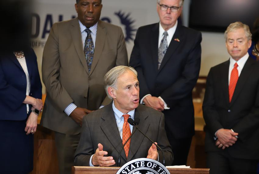 Gov. Greg Abbott announces new school safety measures in response to the Santa Fe High School shooting at the Dallas Indepen…